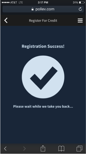 Registration confirmation screen