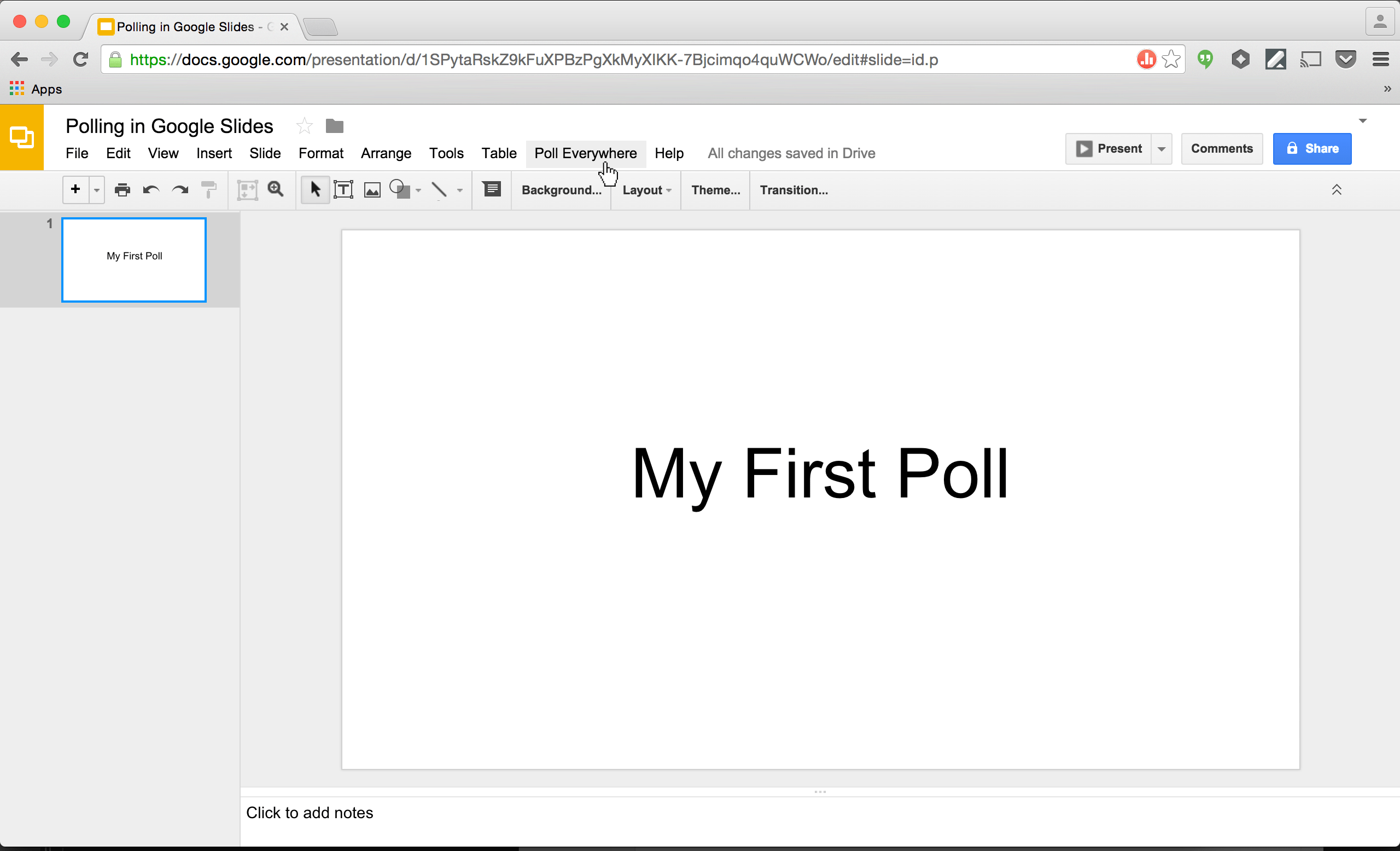 PollEv Presenter in Chrome Store: click Poll Everywhere tab