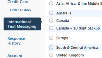 Displaying international text messaging instructions: step 2
