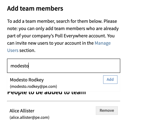 Add team members search