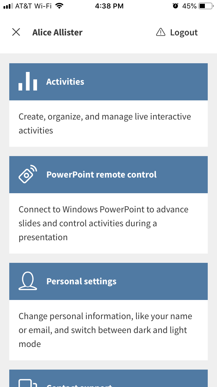 Remote control for PollEv for Windows PowerPoint: step 5
