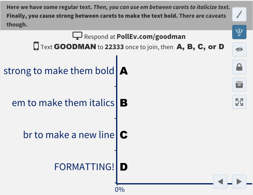Format the font of the poll titles with HTML