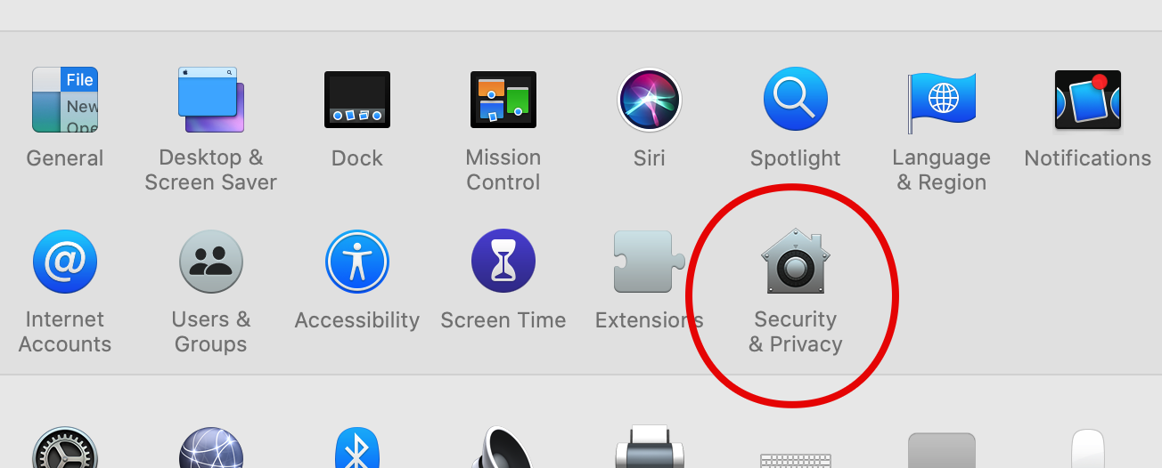 Security and privacy pane in system preferences